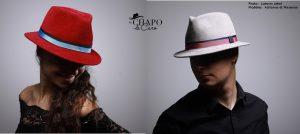 Feutre Hector, chapeau unisexe en feutre taupé velours par Les Chapo de Caro.Finition Gros-grain bicolore.