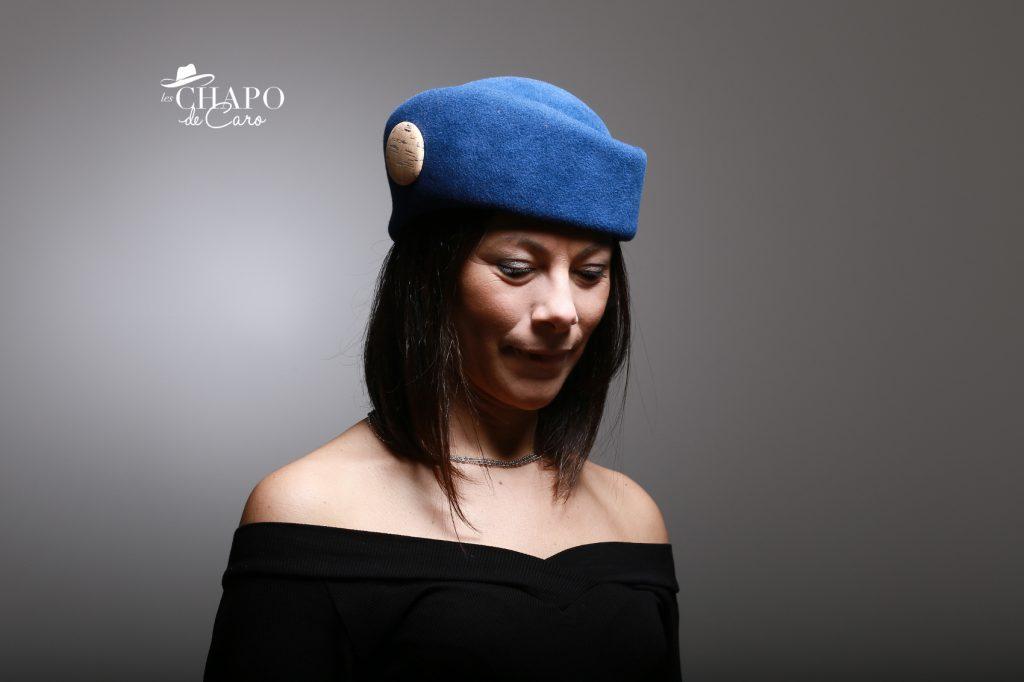 LesChapodeCaro-chapeau hiver-toque Charlène en feutre taupé bleu- orleans paris