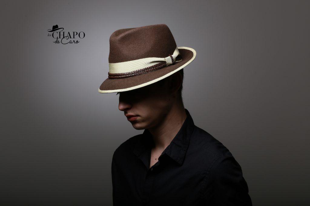 LesChapodeCaro,Gwen, chapeau d'hiver en feutre marron, ruban vert amande et cuir