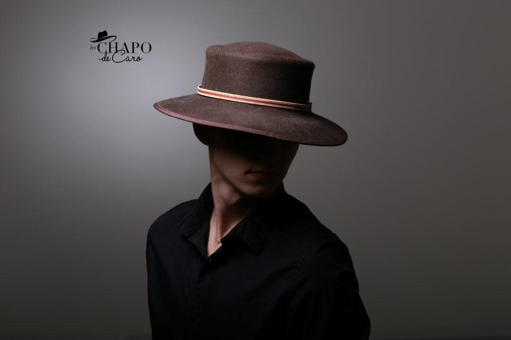 LesChapodeCaro-chapeau hiver-Owen pour homme en feutre marron et ruban de liège - orleans paris