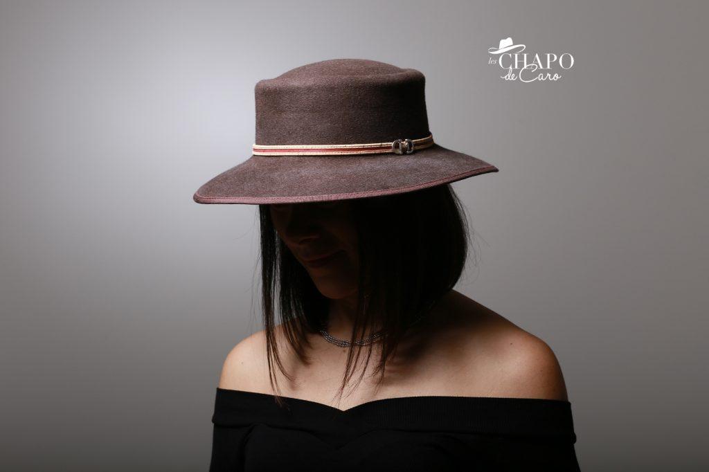 LesChapodeCaro-chapeau d'hiver-Owen en feutre marron et ruban de liège-orleans paris