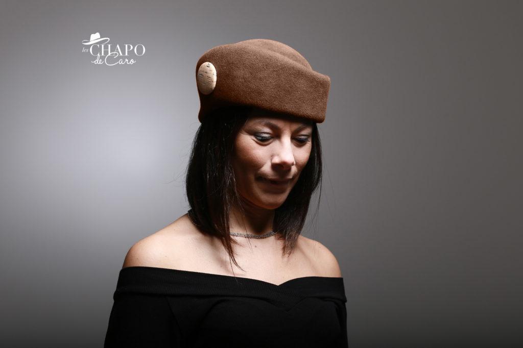 LesChapodeCaro-chapeau hiver femme feutre taupé marron Charlène
