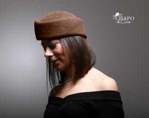 LesChapodeCaro - Chapeau toque hiver en feutre marron Charlène