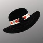 Les Chapo de Caro, Orléans Paris Capeline en feutre noir guêpier rouge asti côté droit