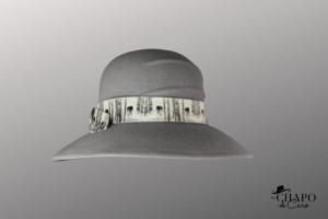 Les Chapo de Caro, Orléans Paris, chapeau capeline de feutre Loup Gris austral face