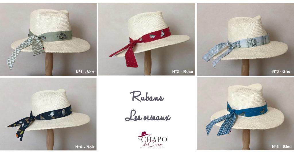 Rubans Les oiseaux chapeau Panama Sacha Les Chapo de Caro